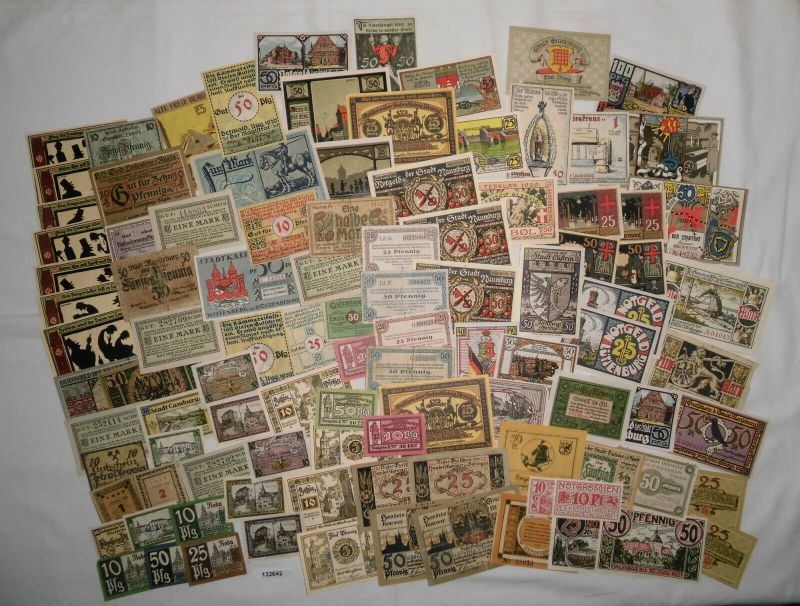 Sammlung mit 100 Banknoten Notgeld Deutsches Reich um 1921 (132642)