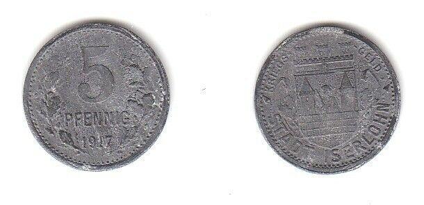5 Pfennig Zink Münze Notgeld Stadt Iserlohn 1917 (113250)