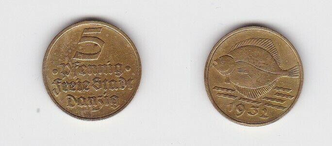5 Pfennig Messing Münze Danzig 1932 Flunder (131294)