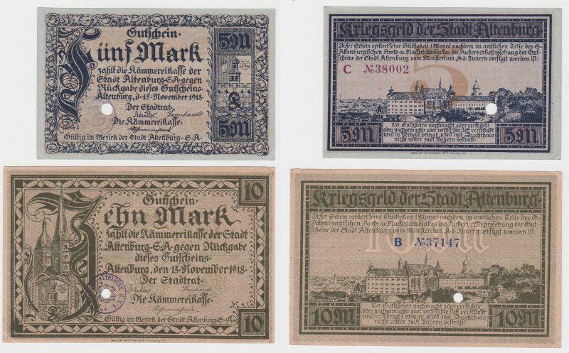 5 & 10 Mark Banknoten Notgeld Stadt Altenburg 1918 (132274)