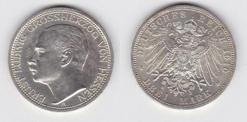 3 Mark Silber Münze Ernst Ludwig Großherzog von Hessen 1910 (131165)