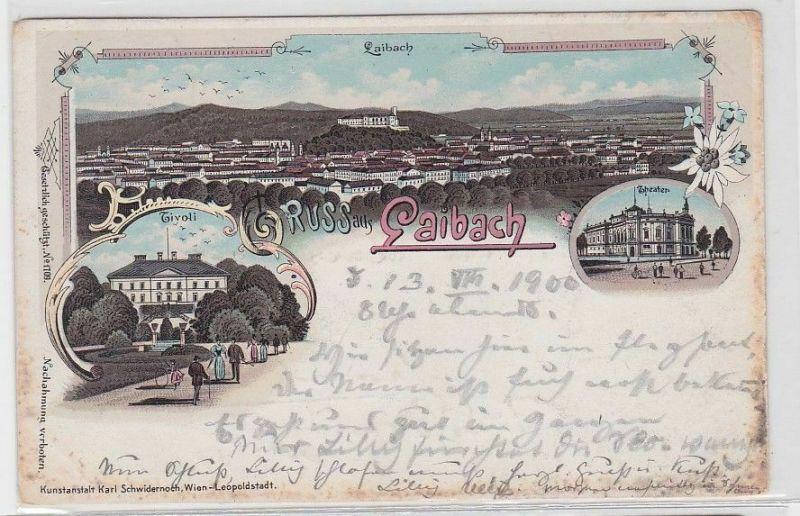 02084 Ak Lithographie Gruß aus Laibach Ljubljana 1900