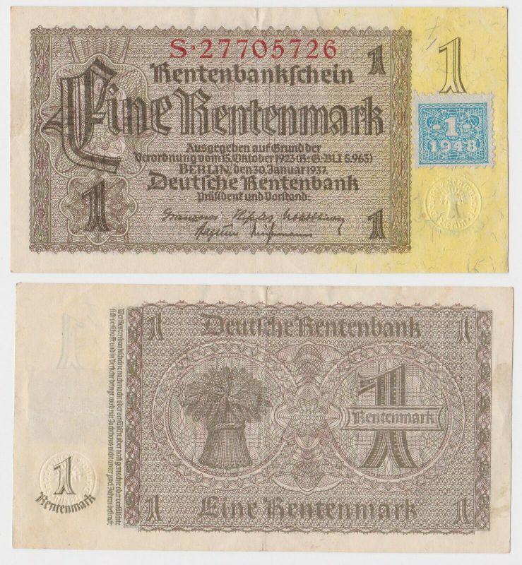 1 Mark Banknote DDR Deutsche Notenbank 1948 Kuponausgabe Ro.Nr.330 b (131624)