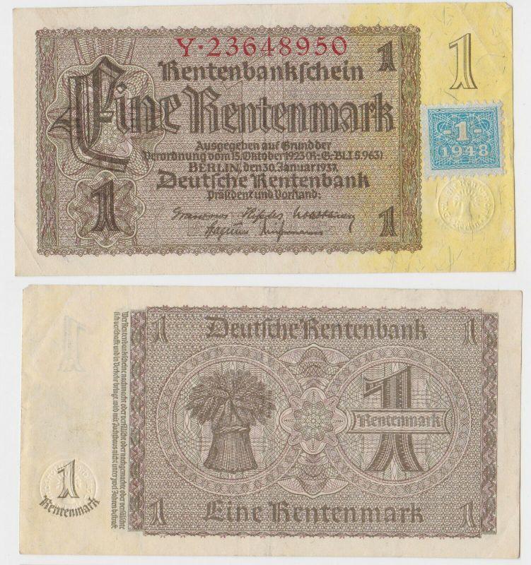 1 Mark Banknote DDR Deutsche Notenbank 1948 Kuponausgabe Ro.Nr.330 b (132302)