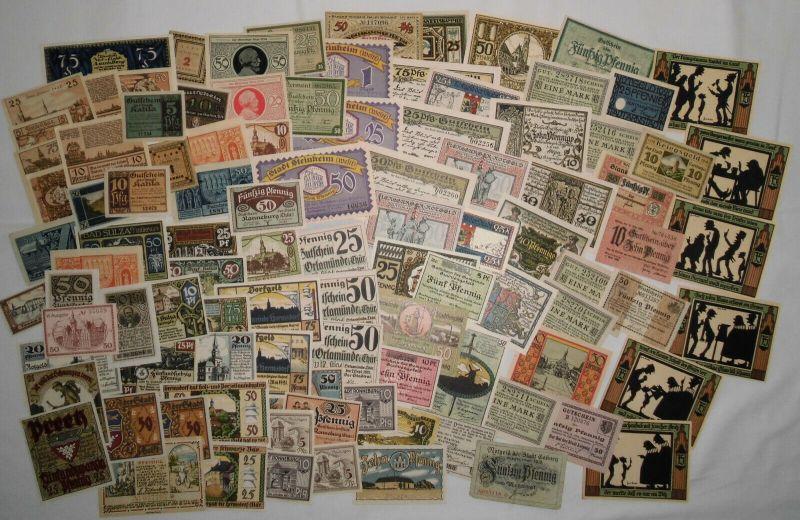 Sammlung mit 100 Banknoten Notgeld Deutsches Reich um 1921 (133065)