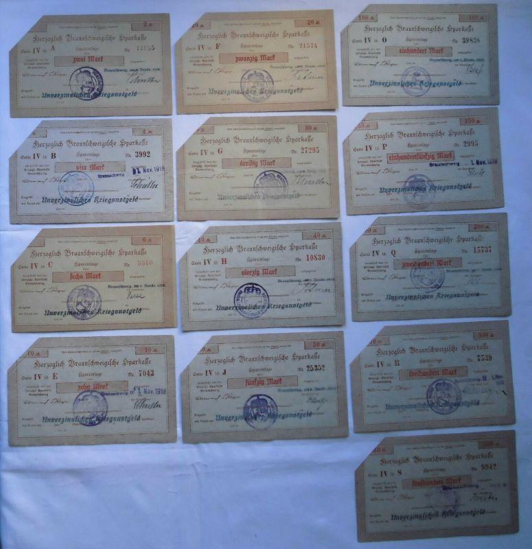13 Banknoten 2 bis 500 Mark herzogliche Braunschweigische Sparkasse 1918(132439)