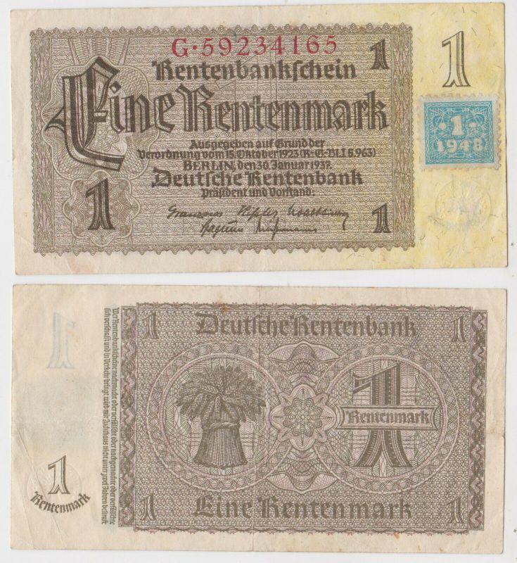 1 Mark Banknote DDR Deutsche Notenbank 1948 Kuponausgabe Ro.Nr.330 b (131829)