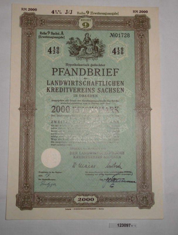 2000 RM Pfandbrief Landwirtschaftlicher Kreditverein Sachsen 24.10.1939 (123097)