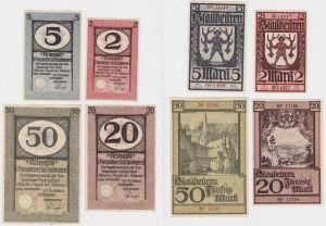 2, 5, 20 und 50 Mark Banknoten Kriegsgeld Oberamtsbezirk Blaubeuren (133062)
