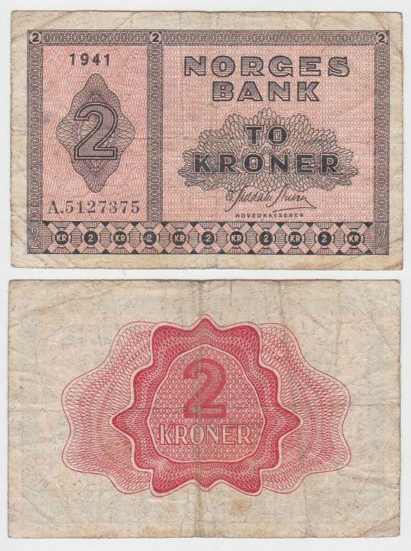 2 Kronen Kroner Banknote Norwegen 1941 (131837)