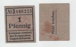 Banknote 1 Pfennig o. D. Konsum Anstalt der Kruppschen Gußstahlfabrik (113287)