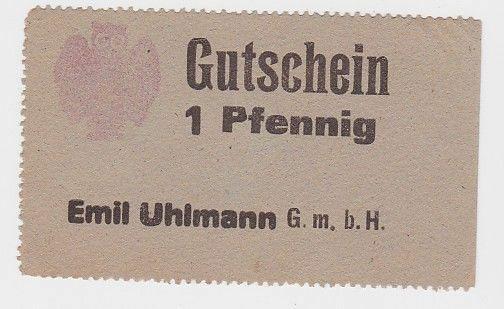 1 Pfennig Banknote Gutschein Emil Uhlmann GmbH Chemnitz  (119040)