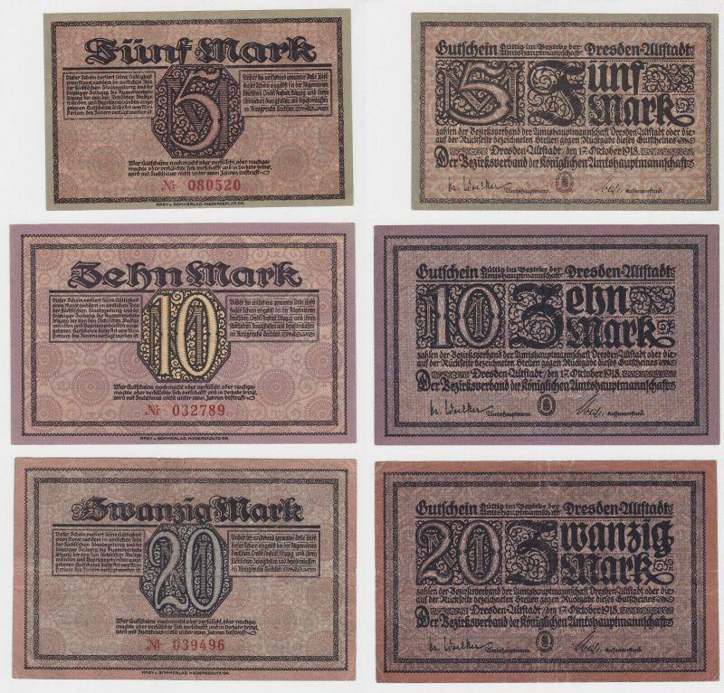 5, 10 & 20 Mark Banknoten Notgeld Dresden Altstadt 17.10.1918 (132183)