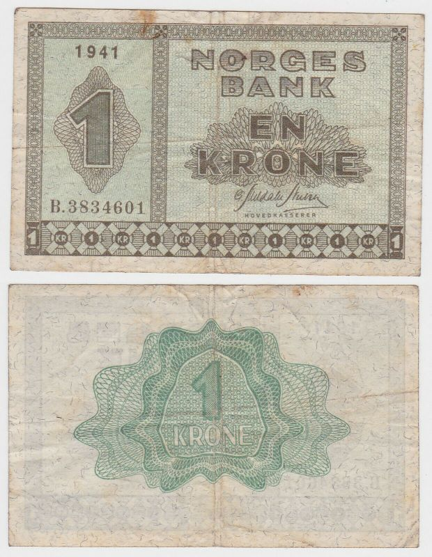 1 Krone Banknote Norwegen 1941 (131812)