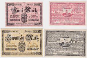 5 & 20 Mark Banknoten Notgeld Stadt Darmstadt 1918 (131777)