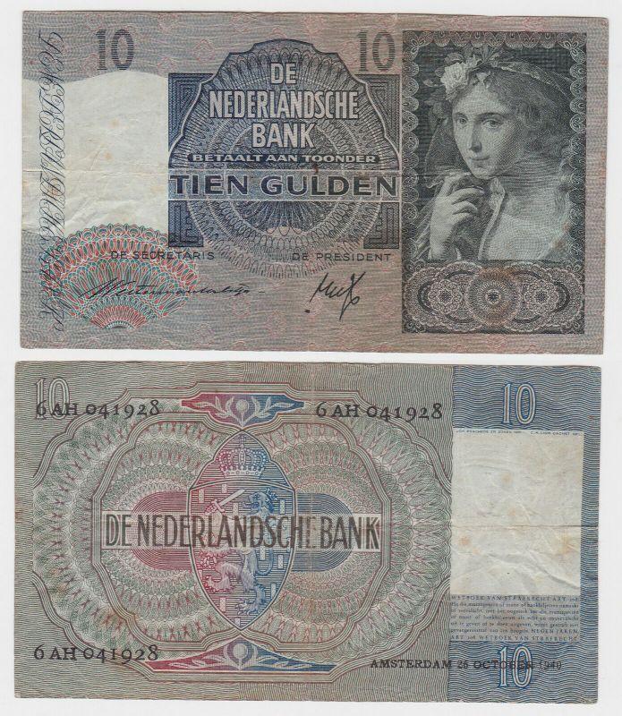 10 Gulden Banknote Niederlande 26.Oktober 1940 (131834)