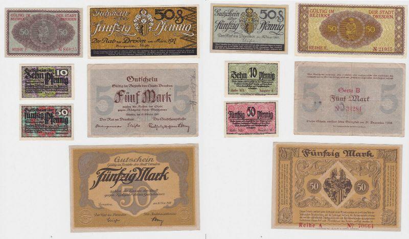 6 Banknoten Notgeld Stadt Dresden 1917-1921 (132528)