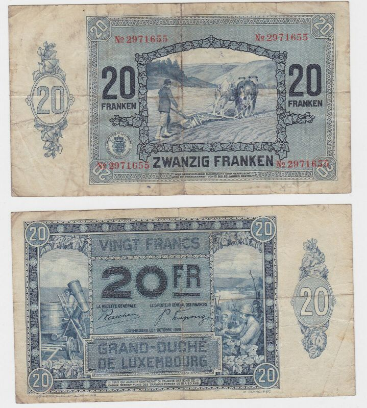 20 Francs Banknote Luxembourg 1.Oktober 1929 (132153)