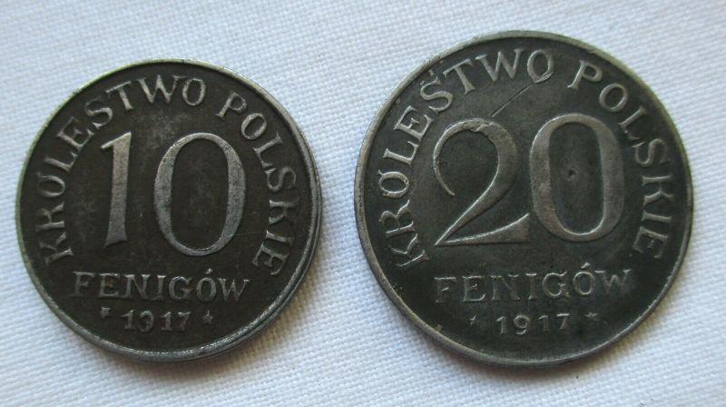 Geplantes Königreich Polen 10 und 20 Fenigow 1917 Polska Nebengebiete (117935)