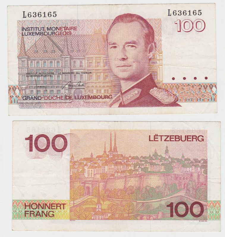 100 Francs Banknote Luxembourg 1993 (132153)