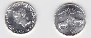 500 Lire Silber Münze Italien 1981 2000 Todestag von Virgilius (131117)