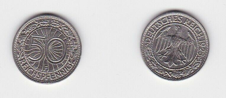 50 Pfennig Nickel Münze Weimarer Republik 1928 F (131126)