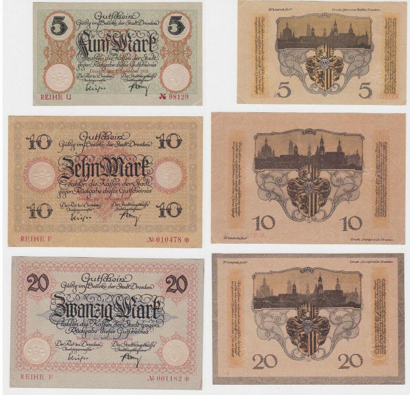 5, 10 & 20 Mark Banknoten Notgeld Stadt Dresden 1918 (133105)