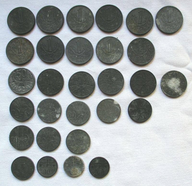 29 Zink Notmünzen Böhmen und Mähren 1940-1944 (112956)