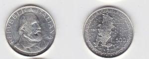 500 Lire Silber Münze Italien 1982 Giuseppe Garibaldi (130919)