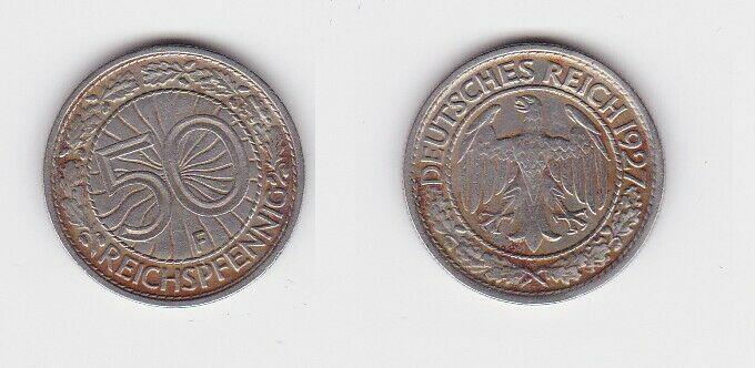50 Pfennig Nickel Münze Weimarer Republik 1927 A (131449)