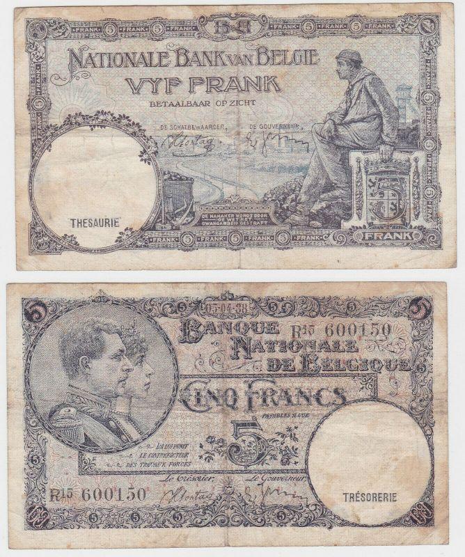 5 Franc Banknote Belgien 05.04.1938 (131839)