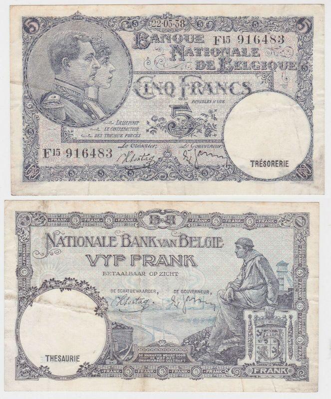 5 Franc Banknote Belgien 22.3.1938 (131810)