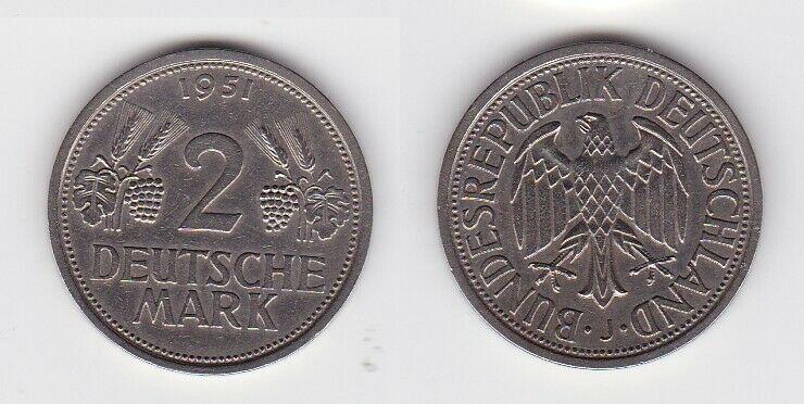 2 Mark Nickel Münze BRD Trauben und Ähren 1951 J (131178)
