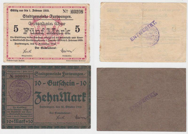 5 & 10 Mark Banknoten Notgeld Stadtgemeinde Furtwangen 1918 (132038)