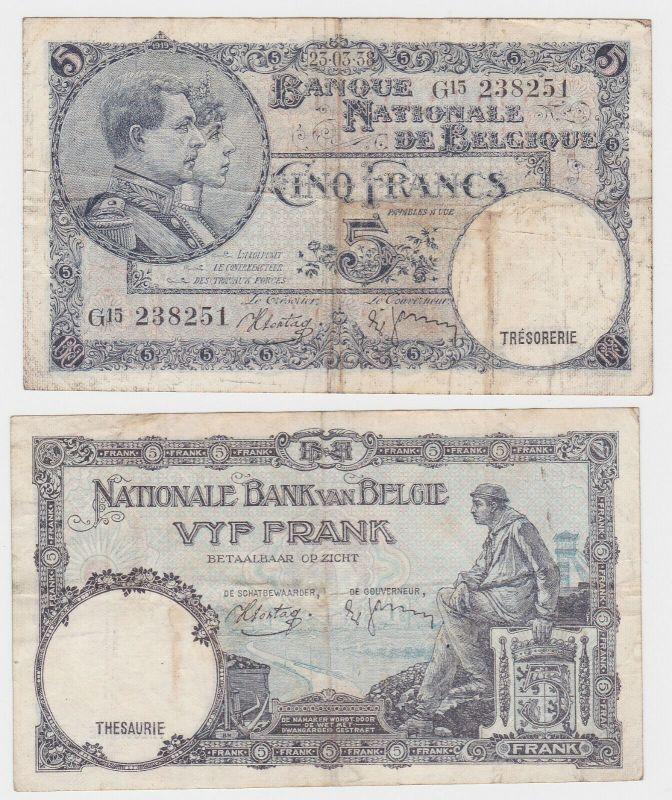 5 Franc Banknote Belgien 23.3.1938 (131816)