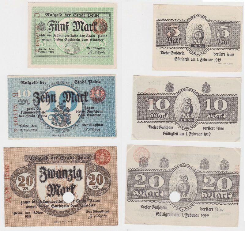 5, 10 & 20 Mark Banknoten Notgeld Stadt Peine 15.November 1918 (133114)