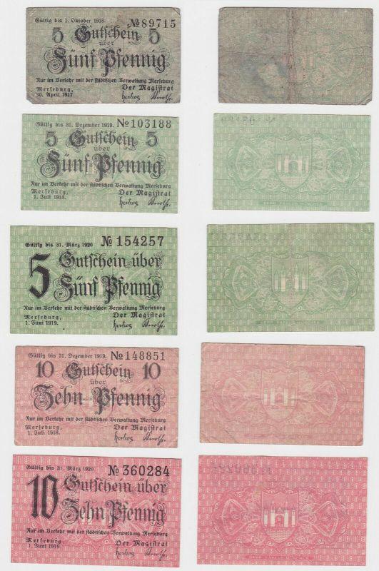 3 x 5 & 2 x 10 Pfennig Banknoten Notgeld Stadt Merseburg 1917/1919 (133175)