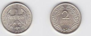 2 Mark Silber Münze Deutsches Reich 1926 A (131226)