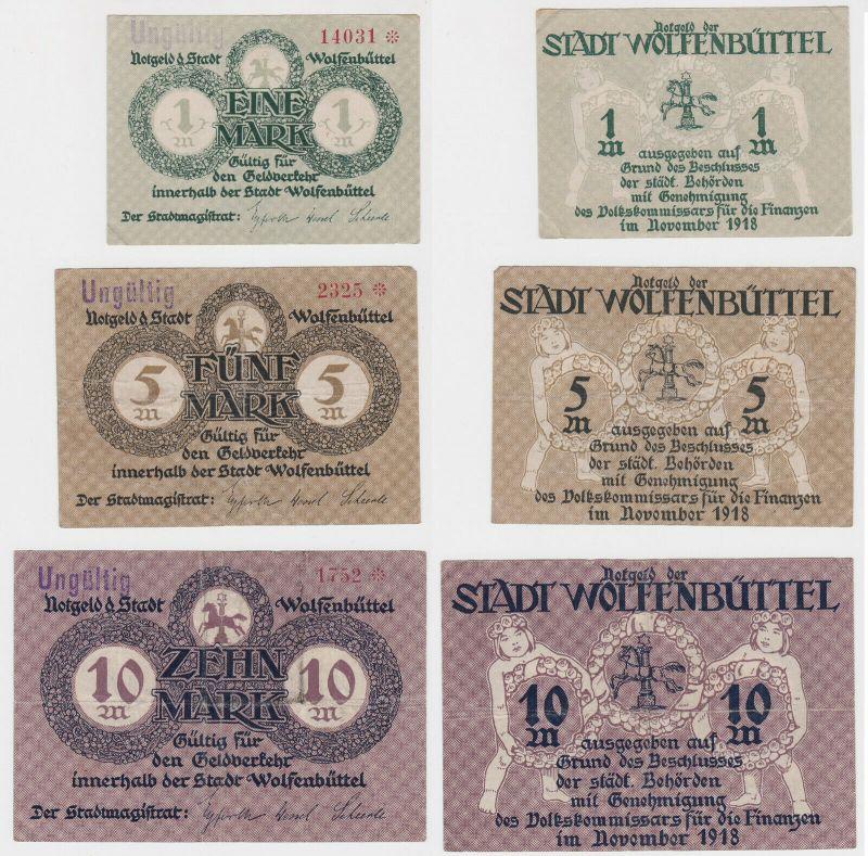 1, 5 & 10 Mark Banknoten Notgeld Stadt Wolfenbüttel 1918 (133071)