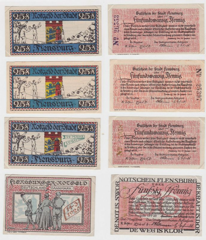 4 Banknoten Notgeld Stadt Flensburg um 1920 (132461)