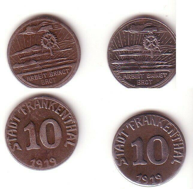 2 x 10 Pfennig Eisen Not Münzen Stadt Frankenthal 1919 (102642)