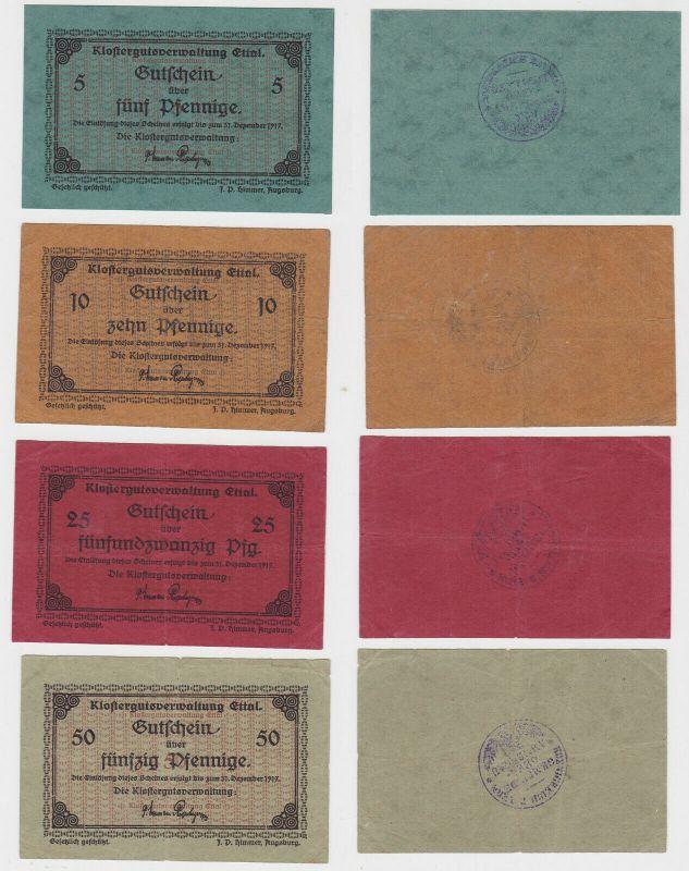 6 Banknoten Notgeld Klostergutsverwaltung Ettal Juli 1919 (131843)