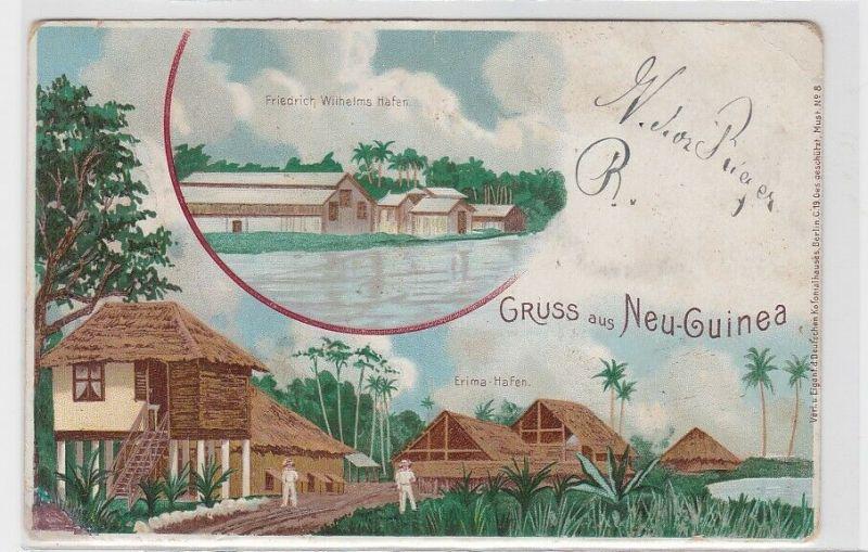 68856 AK Dt Schutzgebiet Neu-Guinea - Erima-Hafen, Friedrich Wilhelms Hafen 1898