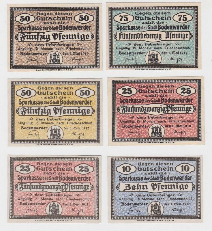 10, 2x 25, 2x 50 & 75 Pfennig Banknoten Stadt Bodenwerder 1919  (132416)