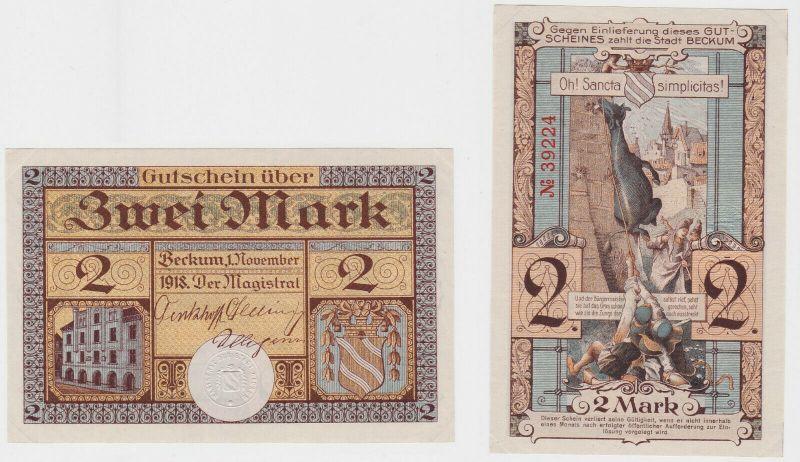 2 Mark Banknote Notgeld Stadt Beckum 1.November 1918 (132502)