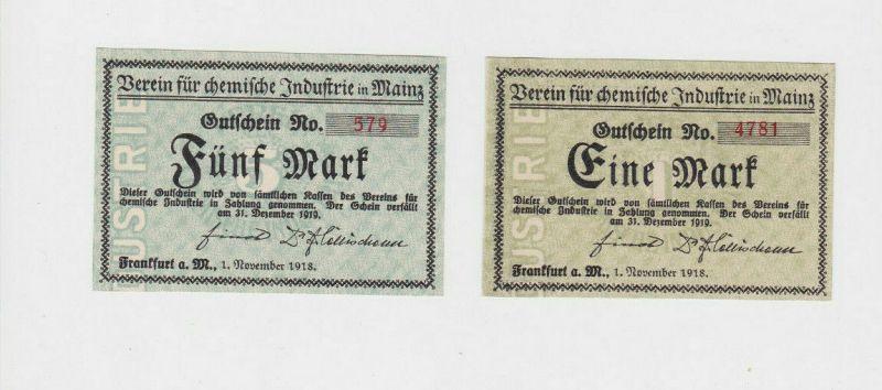 1 & 5 Mark Banknoten Notgeld Frankfurt a.M. Verein für chem.Industrie  (133137)