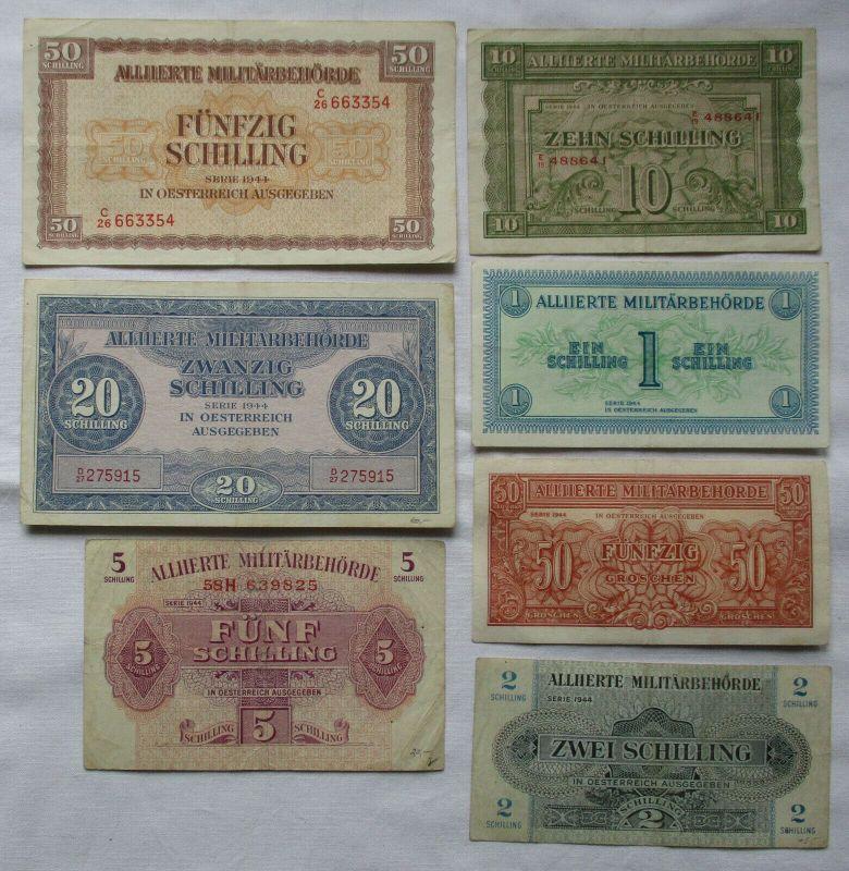 7 seltene Banknoten alliierte Militärbehörde Österreich 1944 (125777)