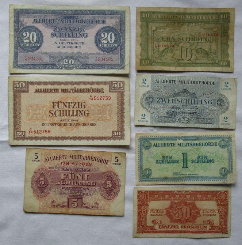 7 seltene Banknoten alliierte Militärbehörde Österreich 1944 (120483)