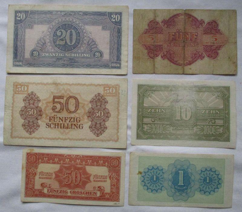 6 seltene Banknoten alliierte Militärbehörde Österreich 1944 (125721)