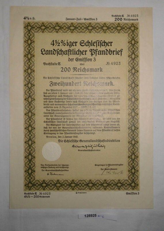 200 RM Pfandbrief Schlesische Landschaftsdirektion Breslau 2. Jan. 1940 (128925)